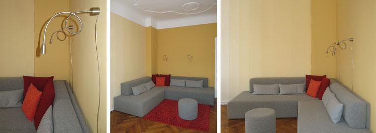 Sofa nach Maß, Neuanfertigung mit Kissen und Pouf / Flexleuchten