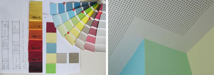 Arbeit am Farbkonzept / Detail Gipskarton-Akustikdecke