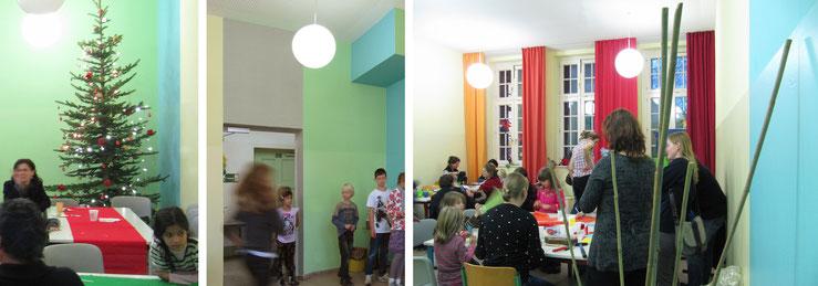 Weihnachtsfeier im Speiseraum / Kinder vor der Speisenausgabe / Basteln im kleinen Speiseraum