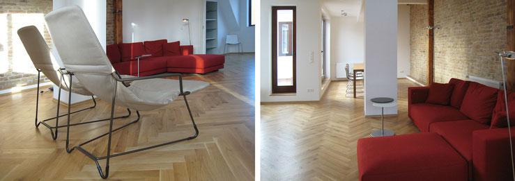 Großer, offener Wohnraum mit Sofa und Esstisch / die bequemen Outdoorsessel für die Dachrerrasse sehen auch indoor gut aus