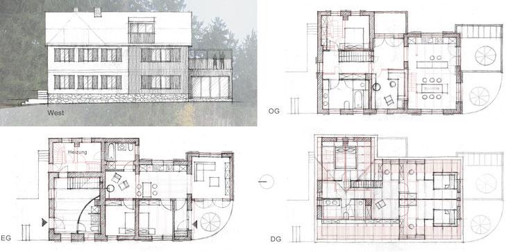 Entwurfsskizzen Westfassade und Grundrisse / Bestand blassrot hinterlegt
