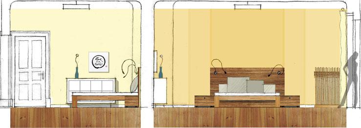 Schlafzimmer: Entwurfsskizzen / Schnitte / Collagen