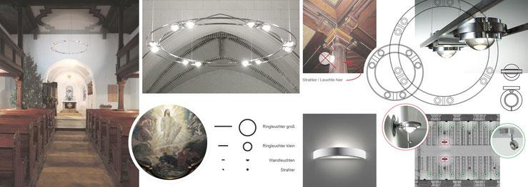 Fotomontage mit Ringleuchter, Produktvorschläge Leuchten