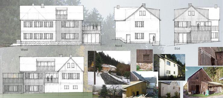 Entwurfsskizzen Fassaden / Fotos Bestand