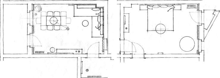 Wohnzimmer / Schlafzimmer / Entwurfsskizzen Grundrisse