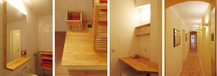 Neuer Spiegel und Abdeckung der Duschwanne im Bad / Teeküche / Flur