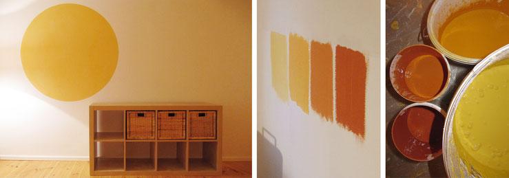 Farbkreis / Musterflächen für Wandfarben vor Ort / Farbeimer