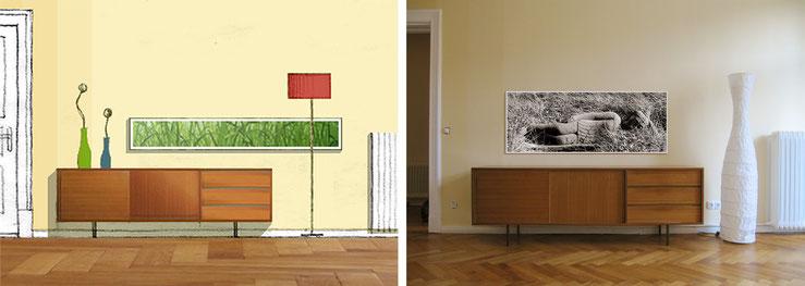 """Sideboard aus den 50ern mit Bild: Entwurfsskizze / Collage und Fotomontage (Foto """"Liegender Buddha"""" von Ulf Thürmann)"""