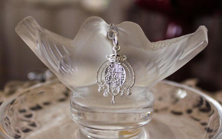collana in puro argento stemma Regno due Sicilie lavorazione orafa by Argenio Napoli
