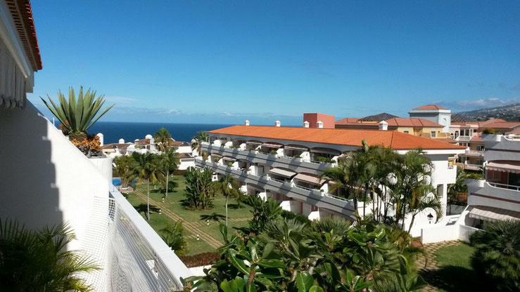 Meerblick durch die Wohnanlage über Palmen hinweg.