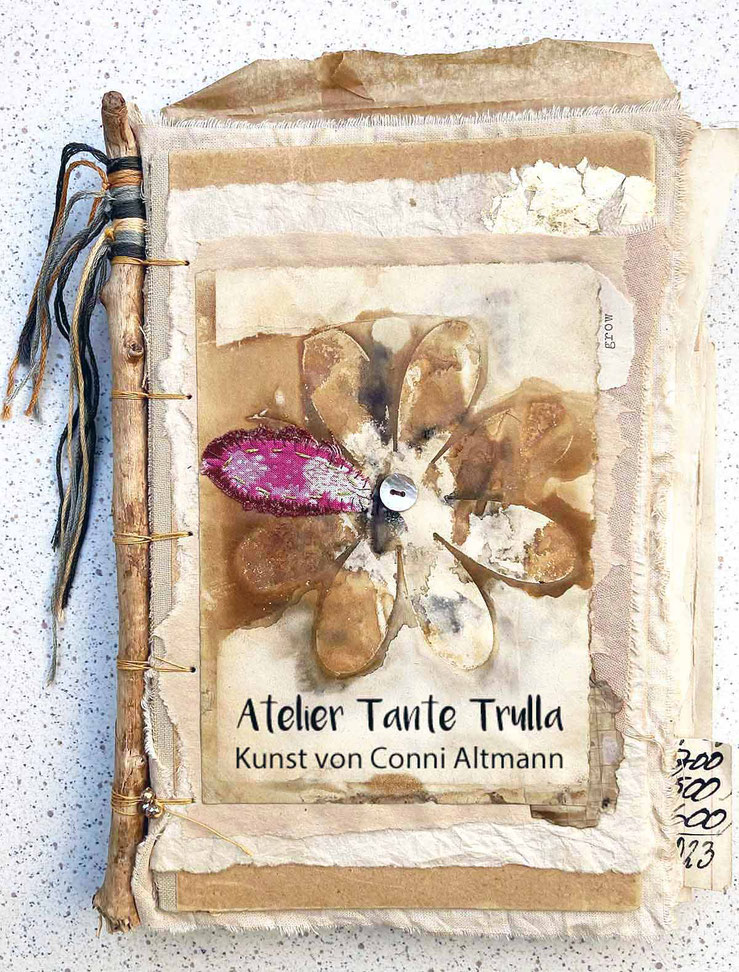 Art Journal with stick and rusted paper by Conni Altmann, www.ateliertantetrulla.de