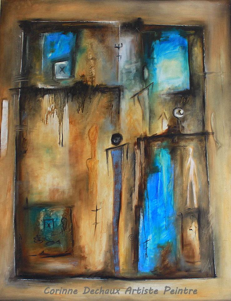 """Huile sur toile 146x114 """"Le monde à travers la fenêtre"""""""