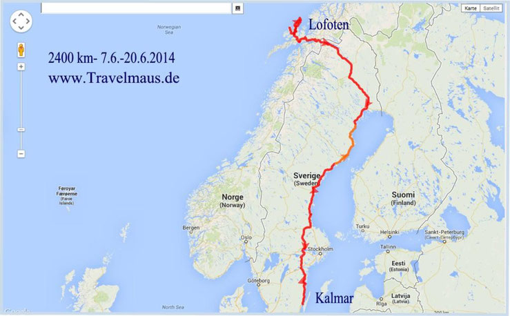 2400 km vom 7.-20.6.2014- Lofoten/Norwegen bis Kalmar/Schweden
