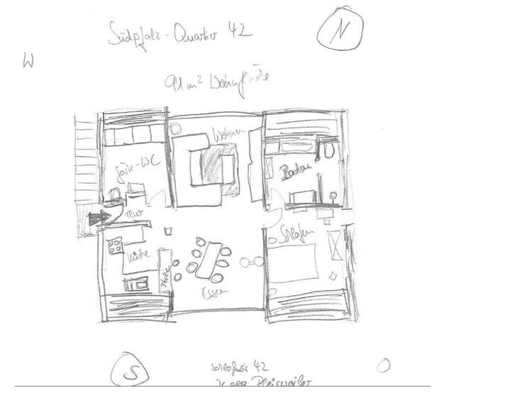 Skizze: Aufteilung der Räume