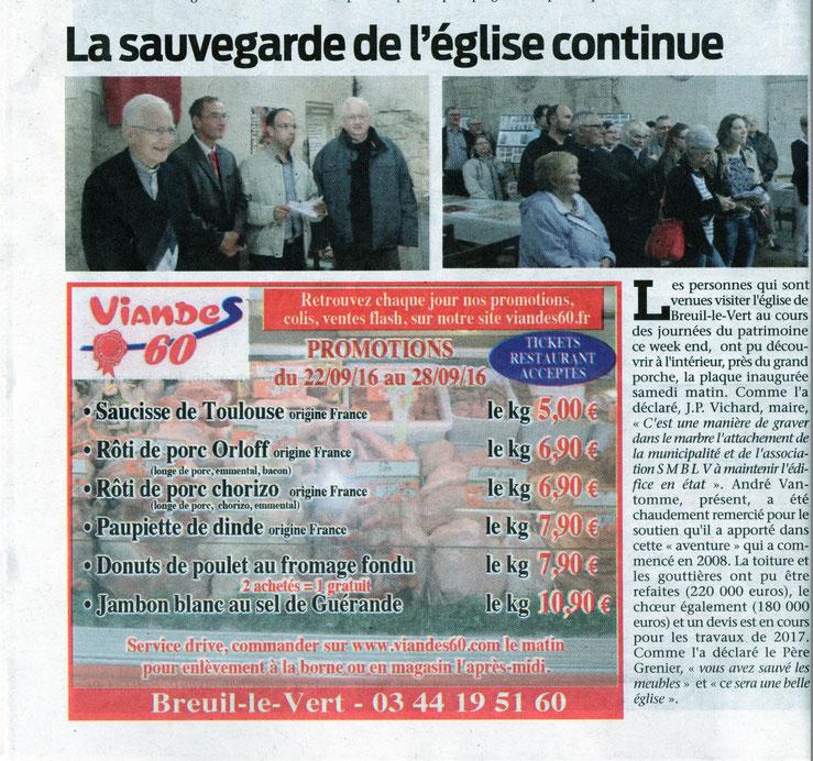 """21 septembre 2016 - Le Bonhomme Picard """" La sauvegarde de l'église continue """""""