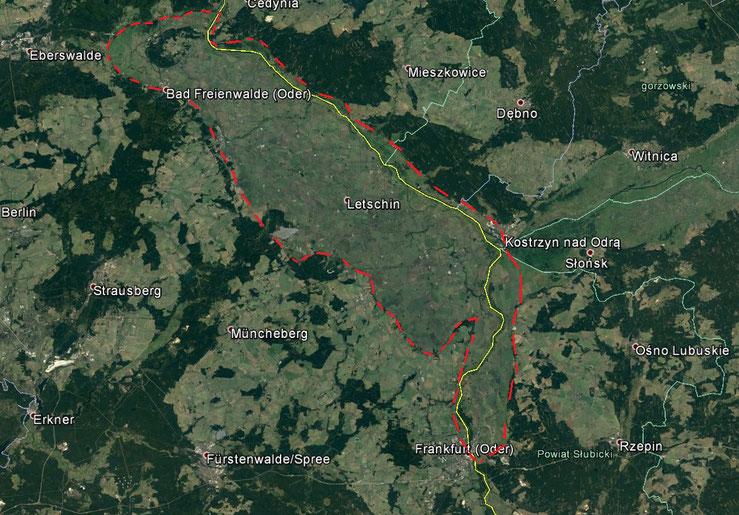 Oderbruchdarstellung auf Grundlage von Google Earth