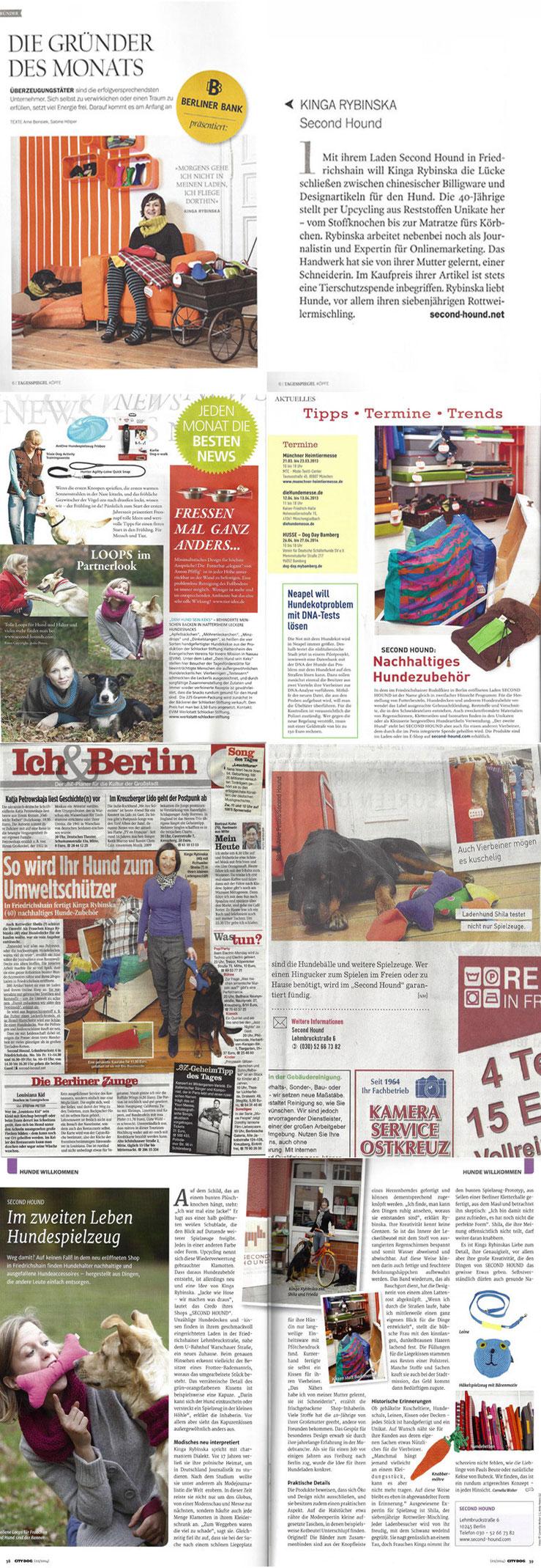 Medienberichte über SECOND HOUND und UNIQUE DOG