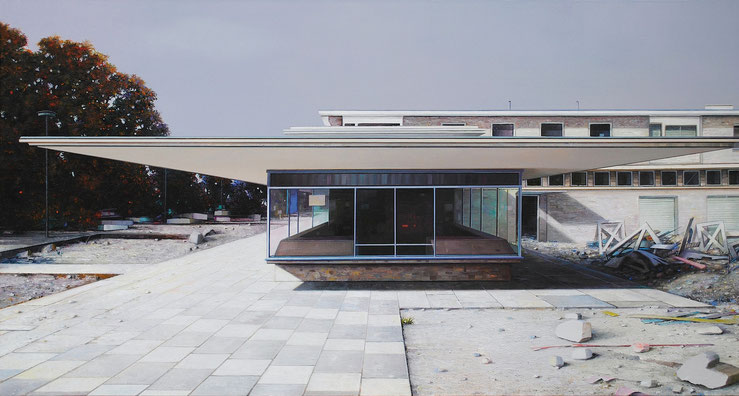 JENS HAUSMANN: Kleine Utopie, 2016, Öl auf Leinwand, 80 x 140 cm