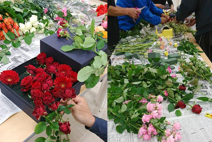 花農家さん達の手により、丁寧にお花が詰められていきます