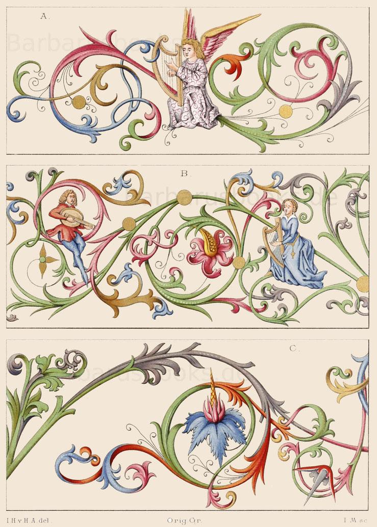 Pergamentmalereien aus der zweiten Hälfte des 15. Jahrhunderts.
