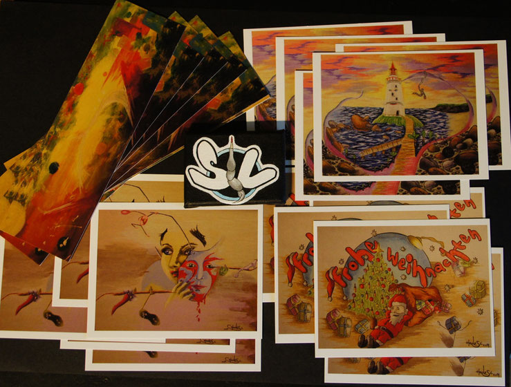 Postkarten und ein Lesezeichen