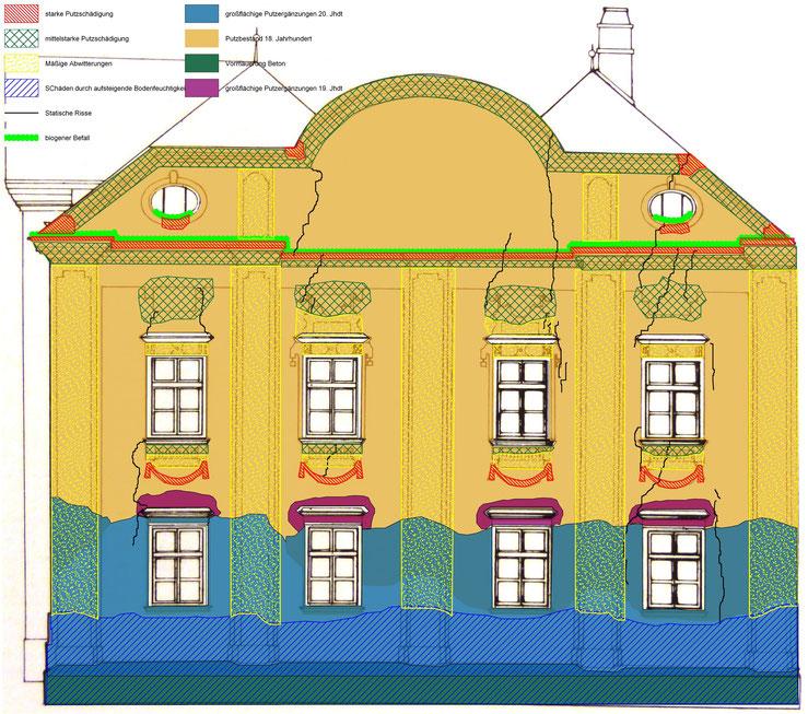 ZUSTANDSDOKUMENTATION Stein, Rathaus: Visualisierung des Schadenbildes.