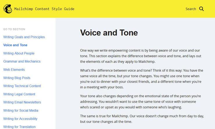 Mailchimp erklärt in seinem Content Style Guide auf Englisch den Unterschied zwischen Voice und Tone