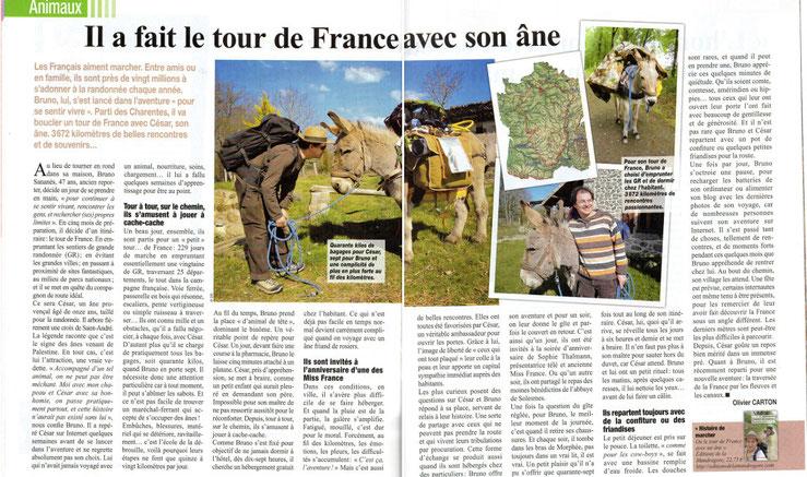 Article de Presse sur le tour de France avec un âne de Bruno Sananès