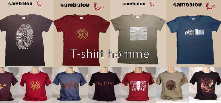 Sambalou 100% coton biologique 200 % couleur,  livraison gratuite dès 3 t-shirts , collection t-shirt homme , e-shop t-shirt homme , collection original et colorée , 100% organic