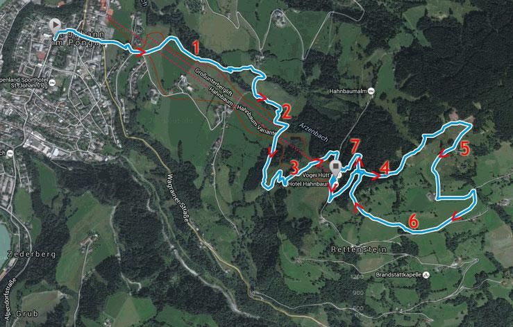 Streckenverlauf mit km-Bereichen (Start - Marktplatz / Ziel - Hotel Hahnbaum)