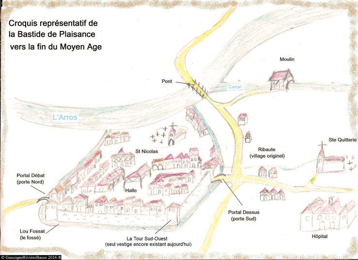 Dessin ou croquis de la bastide de Plaisance du Gers à la fin du moyen âge