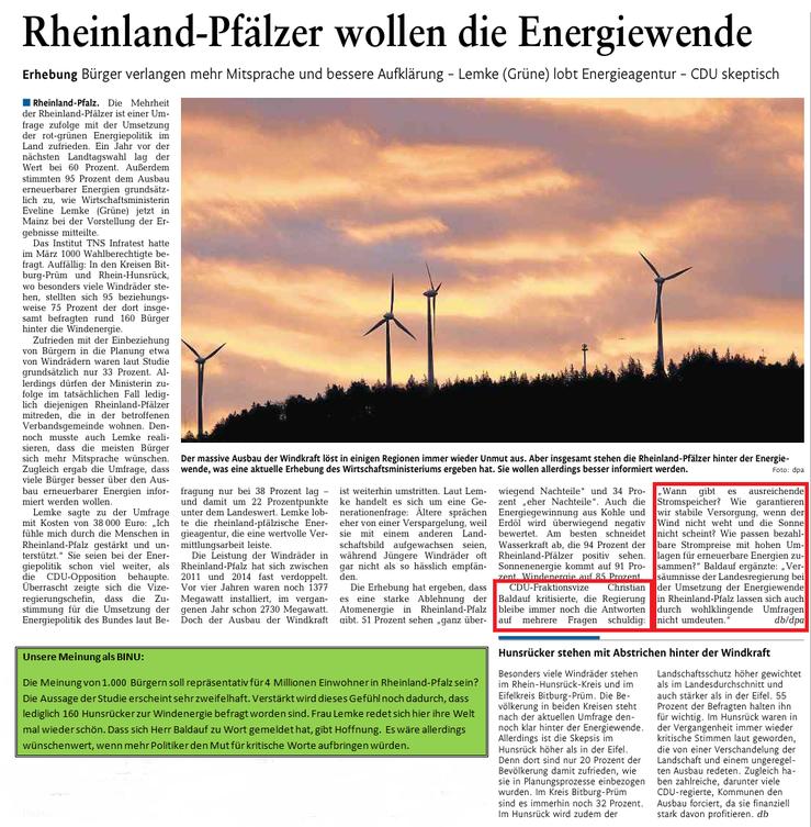 Rhein-Lahn-Zeitung v. 21.05.2015 mit Ergänzung der BINU (grüner Kasten)