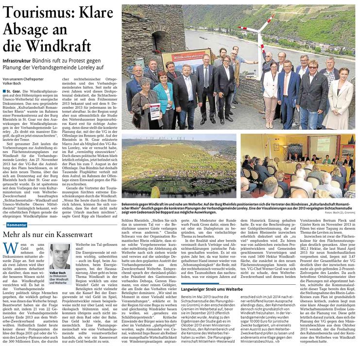 Rhein-Lahn-Zeitung v. 01.08.2015 - auch die BI Weisel ist dabei