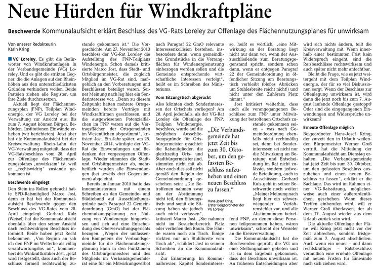 Rhein-Lahn-Zeitung v. 30.07.2015