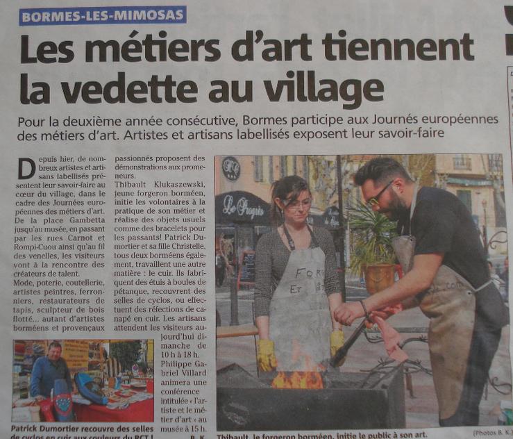 journée Européenne des métiers d'art bormes les mimosas Thibault KLUKASZEWSKI forge et style