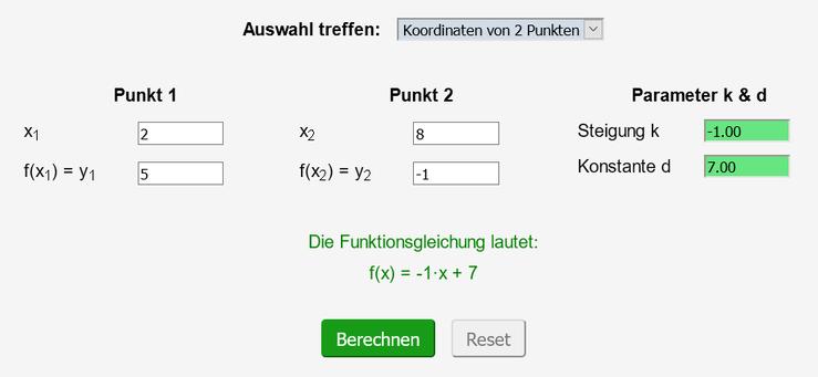 Screenshot des ausgefüllten Rechners - es sind zwei Punkte der Geraden gegeben