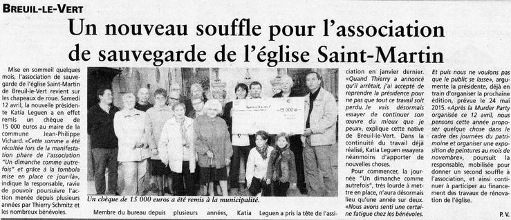 23 avril 2014 - Journal Oise Hebdo - remise de chèque à Monsieur le Maire de Breuil le Vert par l'association SMBLV.