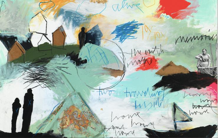 Ausschnitt: REBECCA RAUE: Strukturen erkennen, 2016, 90 x 90 cm, Kohle, Buntstift, Bleistift, Pastell, Collage auf Papier auf Aludibond