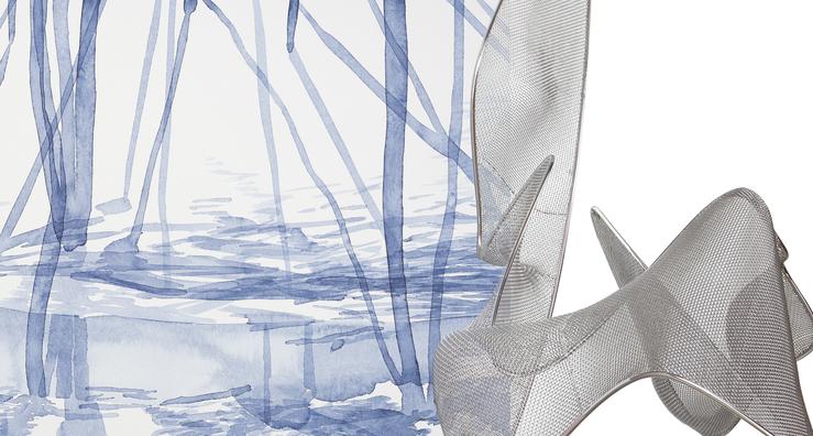 Links: Klaus Lomnitzer, O.T., 2016, Aquarell, 42 x 56 cm, Detail; Rechts: Axel Anklam, MOOKA, 2016, Edelstahl, 265 x 125 x 200 cm, Detail