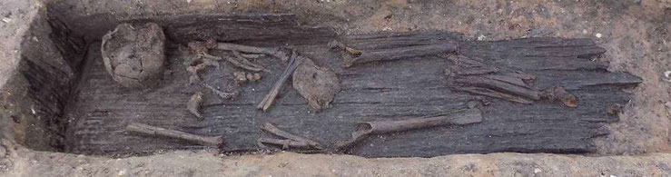 Plank lined grave.  Photo courtesy of Historic England.