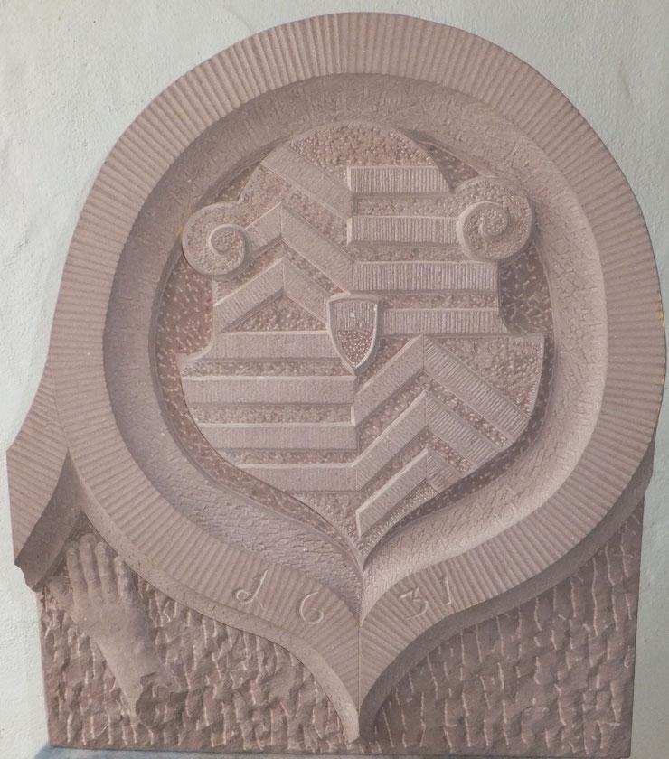 Das Wappen der Grafschaft Hanau-Münzenberg - gehauen von Steinmetzmeister Ralf Erben, Steinmetzschule Aschaffenburg; Foto: Ralf Erben