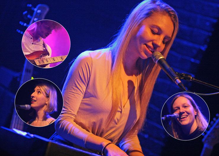 Zum Auftakt der innovativen Musikagentur von Paulina Parvanov (r.) spielten u. a. Maddy Rose (großes Bild), Anne Eck (l.) und Schall und Rausch (l.) im Wiener Szeneclub B72 auf. Fotos: (c) miggl.at