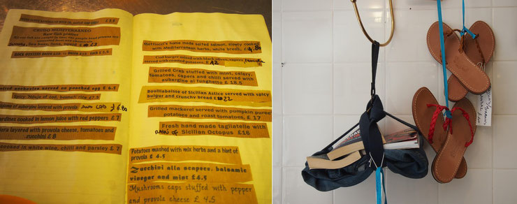 左) 一日おきに変わるメニュー、手書きがかわいい。     右) イタリアでハンドメイドで作られているサンダルなど、購入可能。