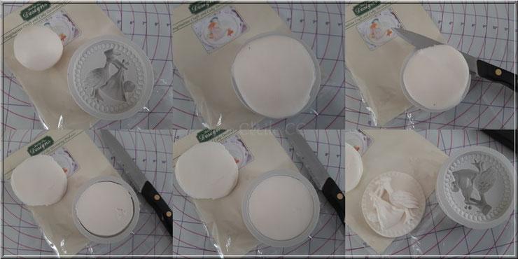 technique moulage pate a sucre dans un moule texture