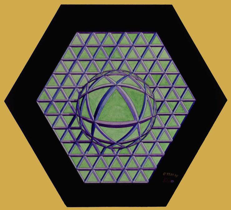 Bild:Hommage à Victor Vasarely,Hommage,Victor Vasarely,Wasserfarbe,Tusche,Papier,Dreieck,David Brandenberger