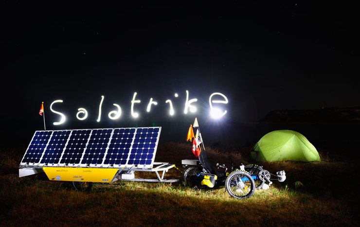 Bild: Solatrike in Nordzypern mit Light painting und Zelt