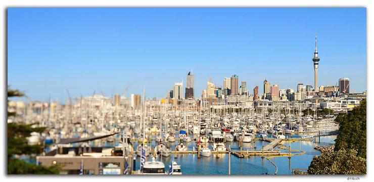 Stadt Auckland mit Hafen im Vordergrund.