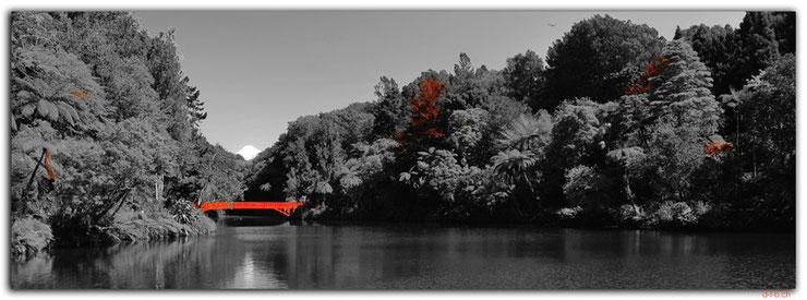 Park mit See und roter Brücke mit Vulkan Taranaki im Hintergrund
