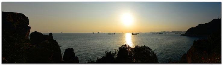 Südkorea, Busan, Meer, Sonnenuntergang, Klippen, Schiffe