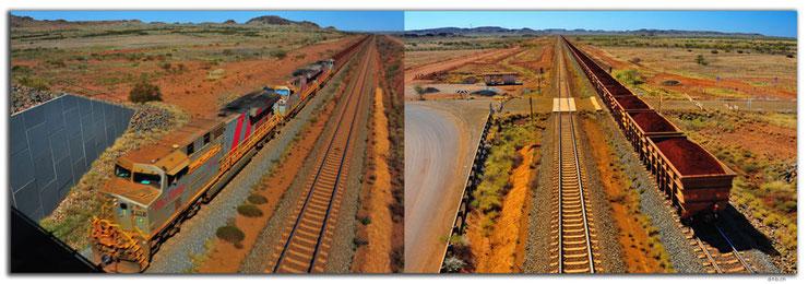Zwei Bilder zeigen eine Landschaft mit Eisenerzzug.
